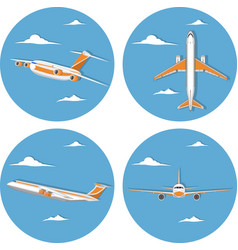 aviation icon set with jet airplane in sky vector image
