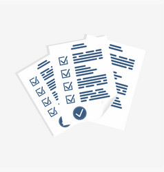 survey form paper sheets exam form checklist for vector image