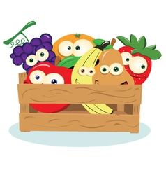 Funny fruit in a box vector