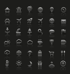 Set of universal silver icons vector