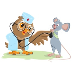 Owl doctor and patient mouse vector