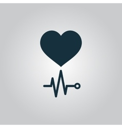 Heart with its cardiogram vector