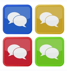 Four square icons with speech bubbles vector