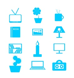 Set of blue icons house interior decor vector