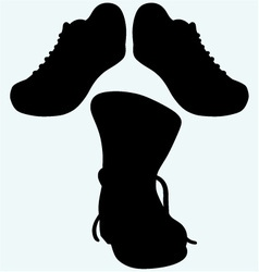 Old dirty boots and sneakers sport shoes vector