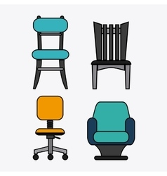 Set of colored chairs vector
