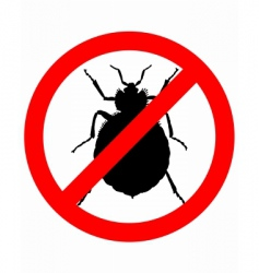 Bedbugs prohibition sign vector