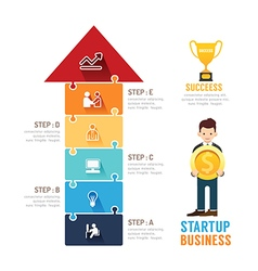 Startup business design arrow jigzaw concept vector