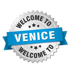 Venice 3d silver badge with blue ribbon vector