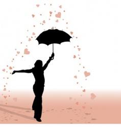 Girl and umbrella vector