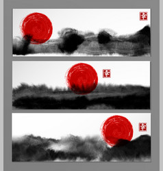 Banners with abstract black ink wash painting and vector