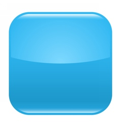 Blue glossy button blank icon square empty shape vector