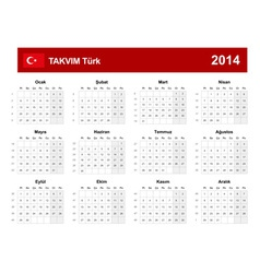 Calendar 2014 turkey type 9 vector