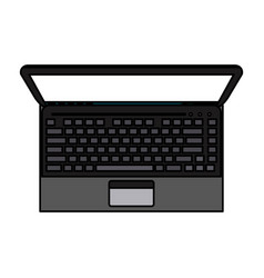 Color image realistic top view laptop computer vector