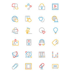 Communication colored outline icons 5 vector