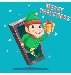 Elf with Giftbox Christmas New Year Greating Gift vector image vector image