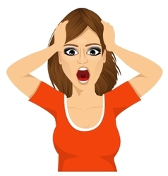 emotionally stressed woman grabbing her head vector image