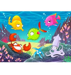 Funny happy animals under the sea vector image vector image