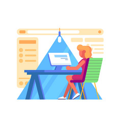 girl working at computers vector image