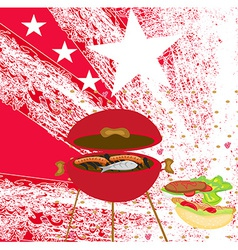 Grunge barbecue with the flag in the background vector