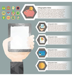 hand hold tablet polygon infographic for financial vector image vector image