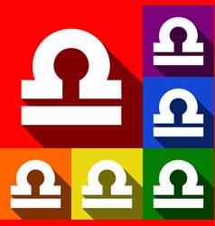 Libra sign set of icons with vector