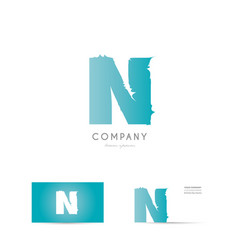 n blue letter alphabet logo icon design vector image