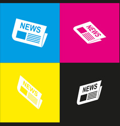 Newspaper sign white icon with isometric vector