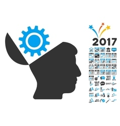 Open head gear icon with 2017 year bonus symbols vector