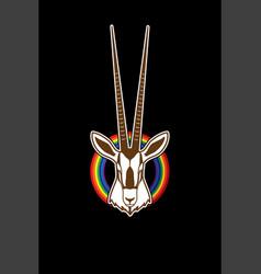 Oryx head with long horn face gemsbok vector