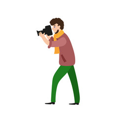 photographer camera man videographer at work vector image vector image