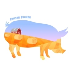 Pig silhouette with double exposure of beautiful vector image