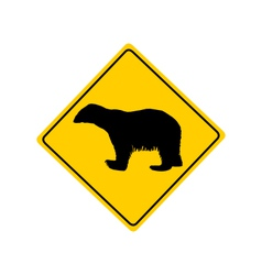 Polar bear warning sign vector image vector image