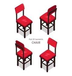 Red chair in isometric projection vector