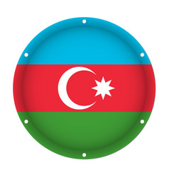 round metallic flag of azerbaijan with screw holes vector image vector image