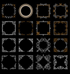 set decorative vintage frames in mono line style vector image vector image