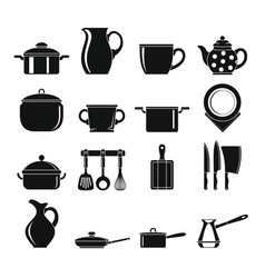 Set flat black silhouette dishes items vector