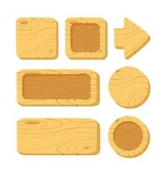 Set of cartoon wooden game assets vector