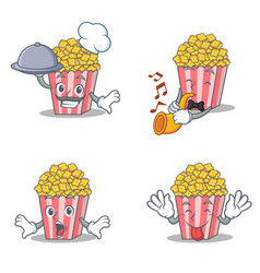 Set of popcorn character with chef trumpet vector