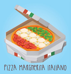 The real pizza margherita italiano italian pizza vector