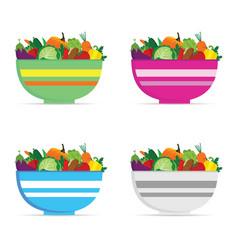 vegetable in bowl set vector image vector image