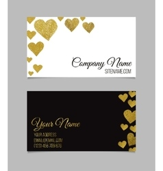 Visiting card with golden foil heart shape design vector