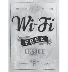 Wi-fi free inside the poster in charcoal on board vector image