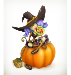 Witch on pumpkin vector image vector image