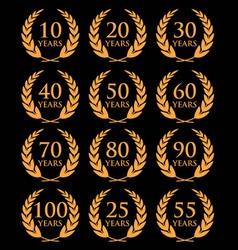 10 100 anniversary laurel wreath2 vector