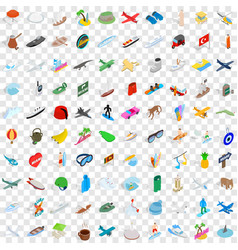 100 adventure icons set isometric 3d style vector