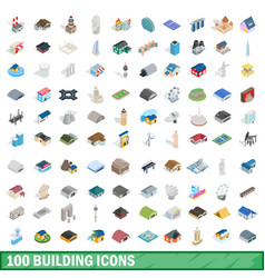 100 building icons set isometric 3d style vector