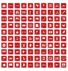 100 cartography icons set grunge red vector