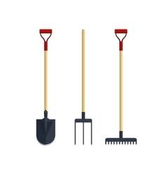 Set pitchfork shovel spade rake flat tool icon vector image