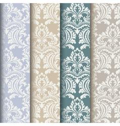 Floral damask pattern set background vector
